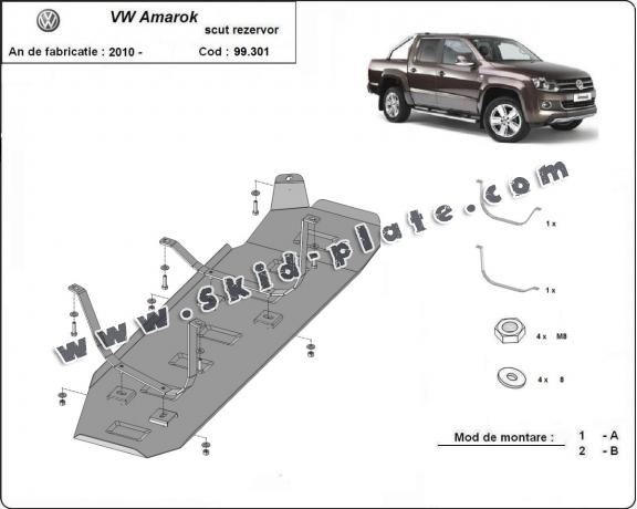 Steel fuel tank skid plate  for Volkswagen Amarok - Only for versions without factory protections
