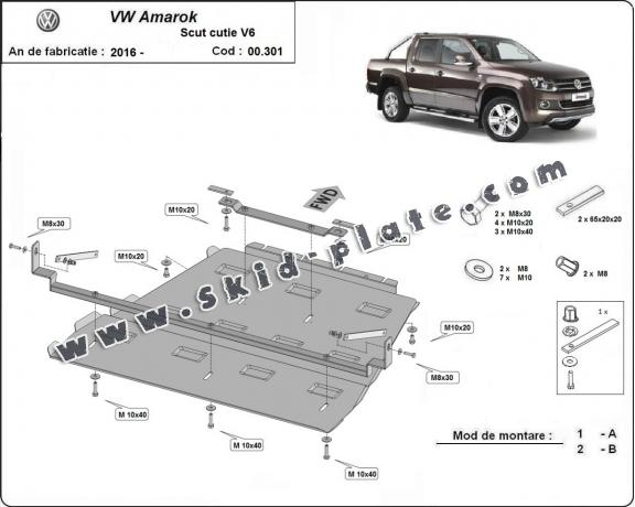Steel gearbox and differential skid plate for Volkswagen Amarok -  V6 automat