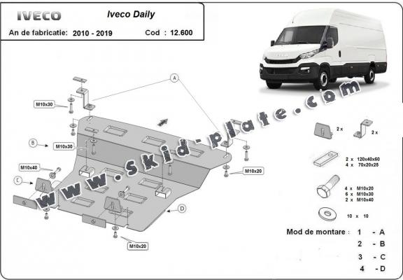 Steel skid plate for Iveco Daily
