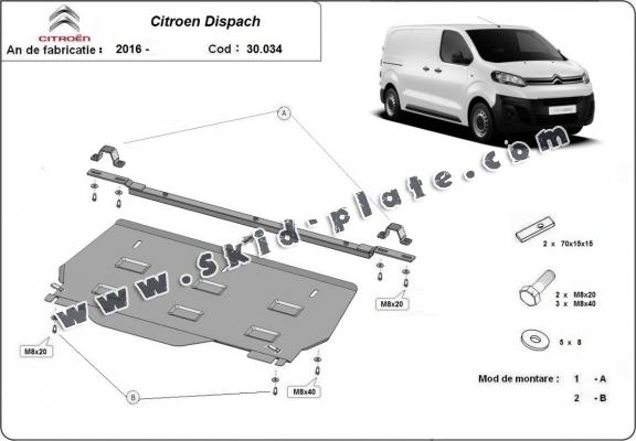 Steel skid plate for Citroen Dispatch MPV