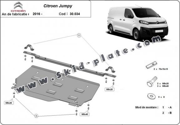 Steel skid plate for Citroen Jumpy MPV