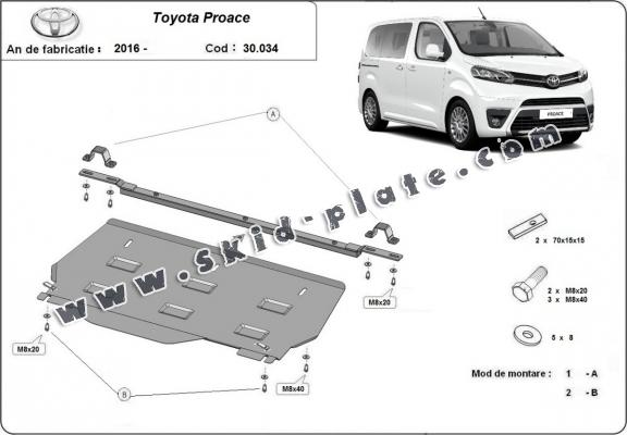Steel skid plate for Toyota Proace MPV