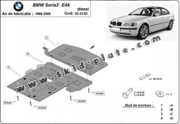 Steel skid plate for BMW Seria 3 E46 - Diesel