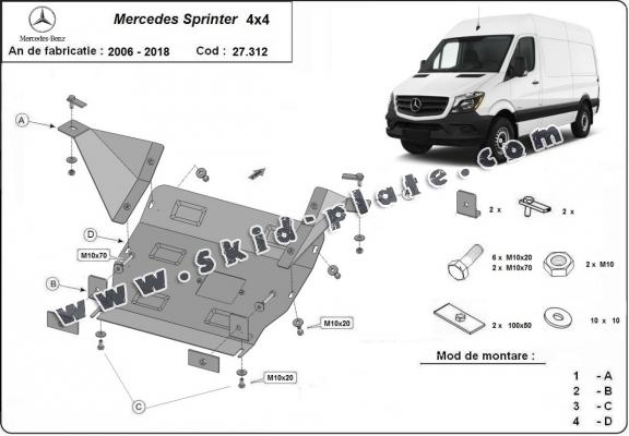 Steel skid plate for Mercedes Sprinter 4x4
