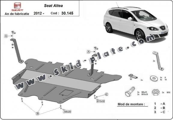 Steel skid plate for Seat Altea - manual gearbox