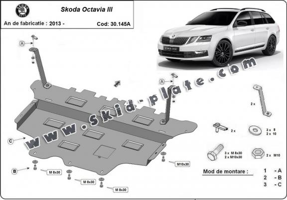 Steel skid plate for the protection of the engine and the gearbox for Skoda Octavia 3 - automatic gearbox