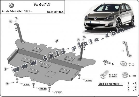 Steel skid plate for the protection of the engine and the gearbox for VW Golf 7 - automatic gearbox
