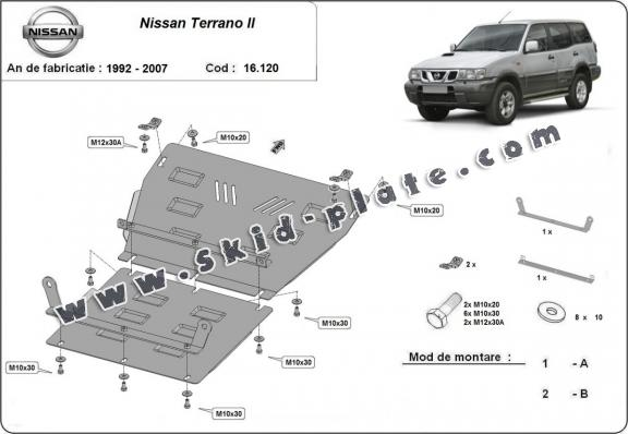Steel skid plate for Nissan Terrano II