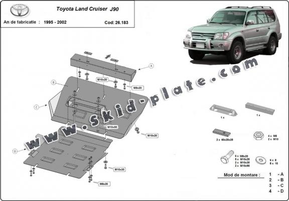 Steel skid plate for Toyota Land Cruiser J90