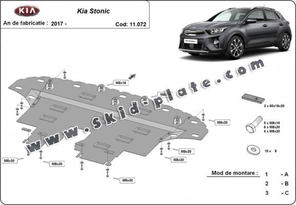 Steel skid plate for Kia Stonic