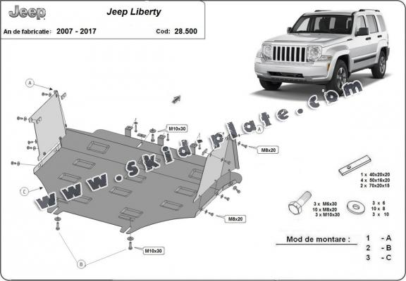 Steel skid plate for Jeep Liberty