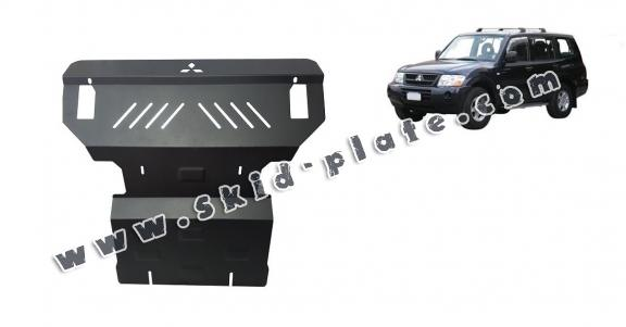 Steel skid plate for the protection of the engine and the radiator for Mitsubishi Pajero 3 (V60, V70)