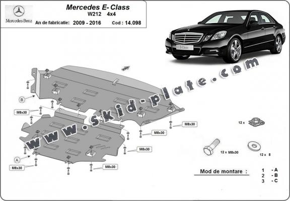 Steel skid plate for Mercedes E-Classe W212 - 4x4