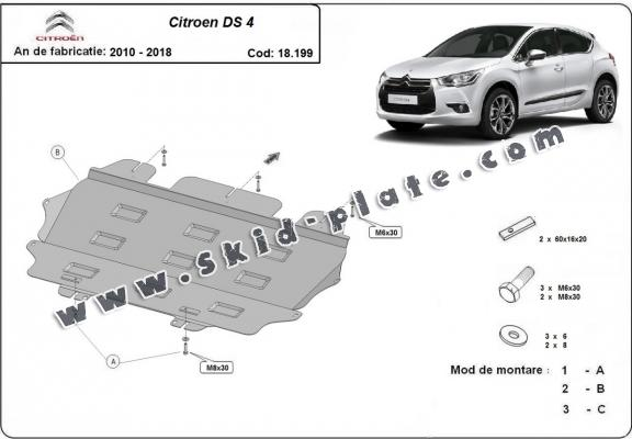 Steel skid plate for Citroen DS4