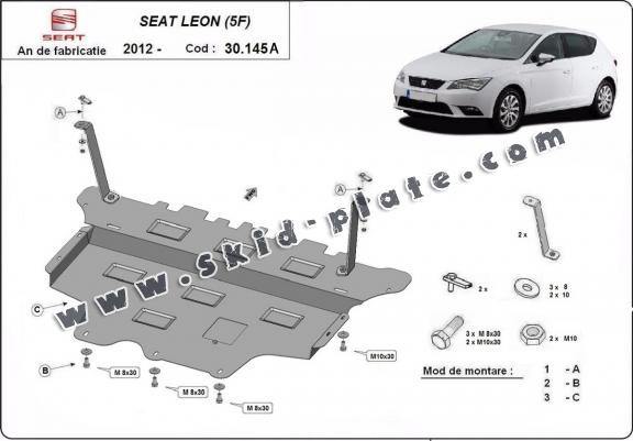 Steel skid plate for Seat Leon - Automatic gearbox