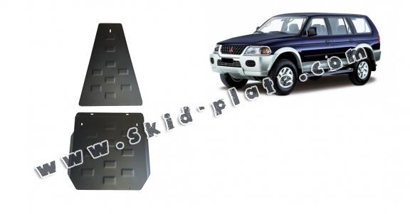 Steel gearbox and differential skid plate for Mitsubishi Pajero Sport 1
