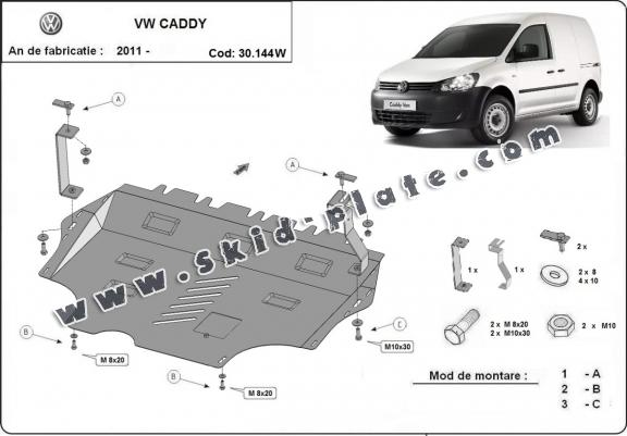 Steel skid plate for VW Caddy - with WEBASTO