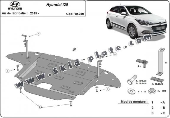Steel skid plate for Hyundai i20
