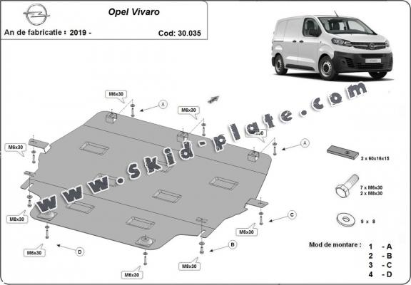 Steel skid plate for Opel Vivaro