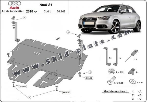 Steel skid plate for Audi A1