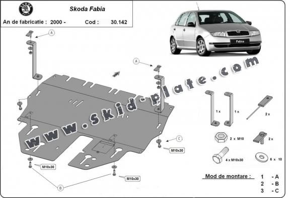 Steel skid plate for Skoda Fabia 1