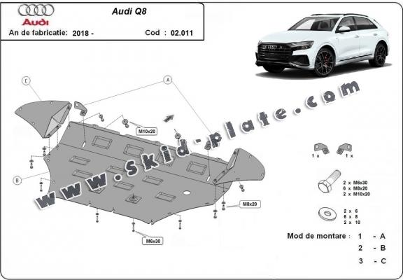 Steel skid plate for Audi Q8