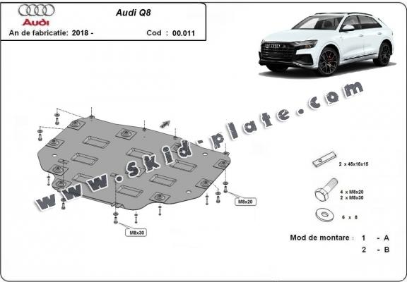 Steel gearbox skid plate for Audi Q8