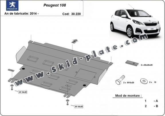 Steel skid plate for Peugeot 108
