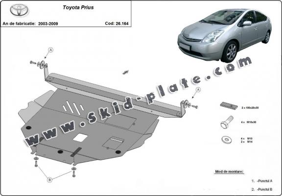 Steel skid plate for Toyota Prius