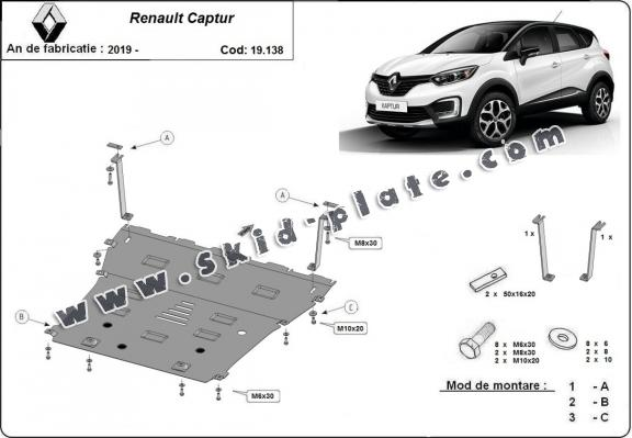 Steel skid plate for Renault Captur
