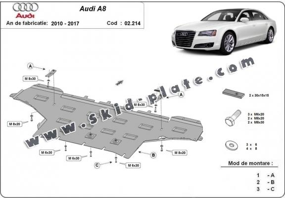 Steel skid plate for Audi A8