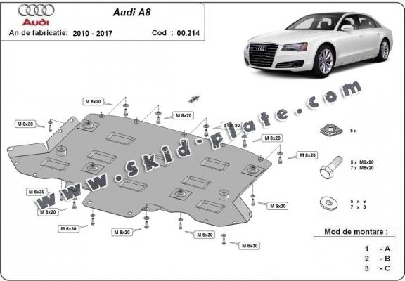 Steel gearbox skid plate for Audi A8