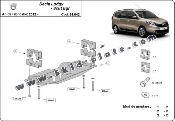 Steel skid plate for Stop&Go system, EGR  Dacia Lodgy