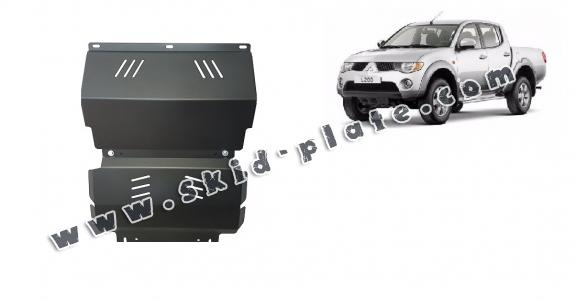 Steel skid plate for the protection of the engine and the radiator for Mitsubishi L 200