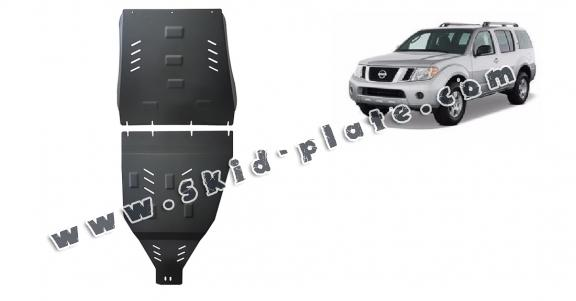 Steel gearbox and differential skid plate for Nissan Pathfinder
