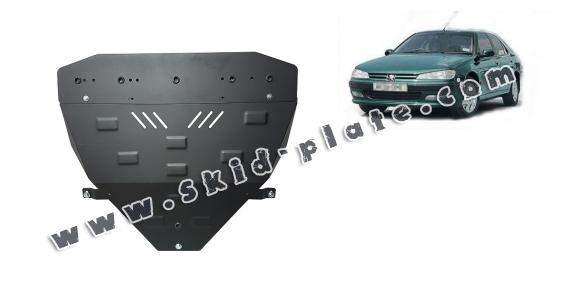 Steel skid plate for the protection of the engine and the gearbox for Peugeot 406