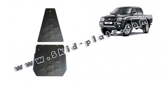 Steel gearbox and differential skid plate for Mitsubishi L 200